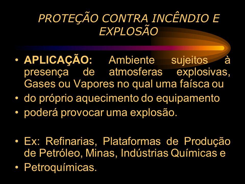 PROTEÇÃO CONTRA INCÊNDIO E EXPLOSÃO APLICAÇÃO: Ambiente sujeitos à presença de atmosferas explosivas, Gases ou Vapores no qual uma faísca ou do própri