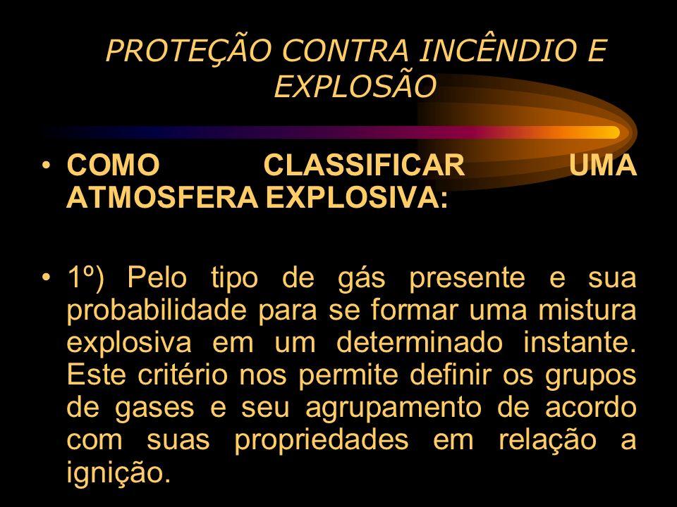 PROTEÇÃO CONTRA INCÊNDIO E EXPLOSÃO COMO CLASSIFICAR UMA ATMOSFERA EXPLOSIVA: 1º) Pelo tipo de gás presente e sua probabilidade para se formar uma mis