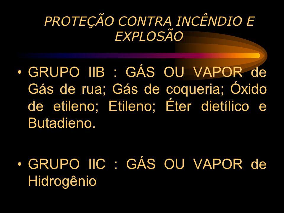 PROTEÇÃO CONTRA INCÊNDIO E EXPLOSÃO GRUPO IIB : GÁS OU VAPOR de Gás de rua; Gás de coqueria; Óxido de etileno; Etileno; Éter dietílico e Butadieno. GR