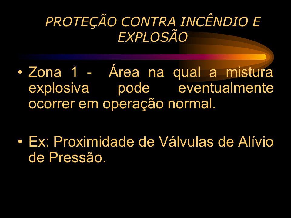 PROTEÇÃO CONTRA INCÊNDIO E EXPLOSÃO Zona 1 - Área na qual a mistura explosiva pode eventualmente ocorrer em operação normal. Ex: Proximidade de Válvul