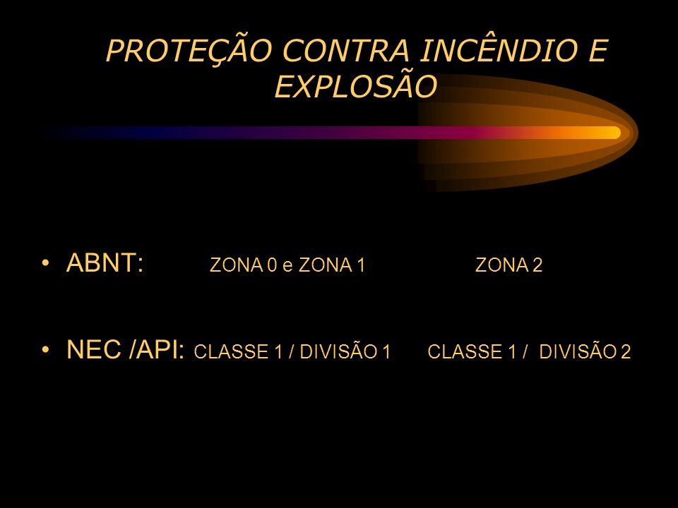 PROTEÇÃO CONTRA INCÊNDIO E EXPLOSÃO ABNT: ZONA 0 e ZONA 1 ZONA 2 NEC /API: CLASSE 1 / DIVISÃO 1 CLASSE 1 / DIVISÃO 2