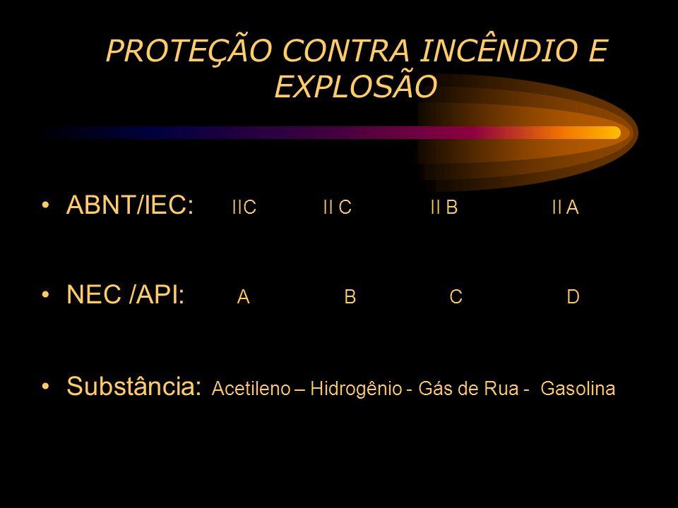PROTEÇÃO CONTRA INCÊNDIO E EXPLOSÃO ABNT/IEC: IIC II C II B II A NEC /API: A B C D Substância: Acetileno – Hidrogênio - Gás de Rua - Gasolina