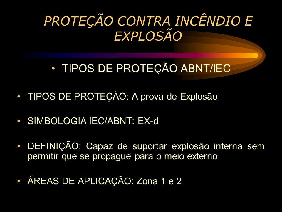 PROTEÇÃO CONTRA INCÊNDIO E EXPLOSÃO TIPOS DE PROTEÇÃO ABNT/IEC TIPOS DE PROTEÇÃO: A prova de Explosão SIMBOLOGIA IEC/ABNT: EX-d DEFINIÇÃO: Capaz de su