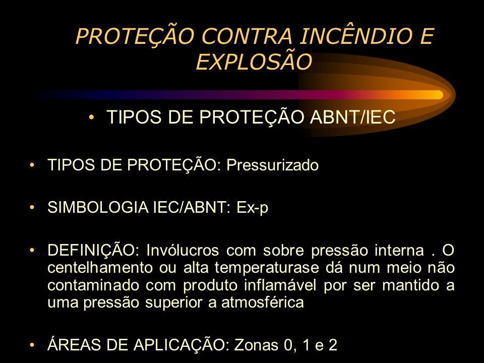 PROTEÇÃO CONTRA INCÊNDIO E EXPLOSÃO TIPOS DE PROTEÇÃO ABNT/IEC TIPOS DE PROTEÇÃO: Pressurizado SIMBOLOGIA IEC/ABNT: Ex-p DEFINIÇÃO: Invólucros com sob