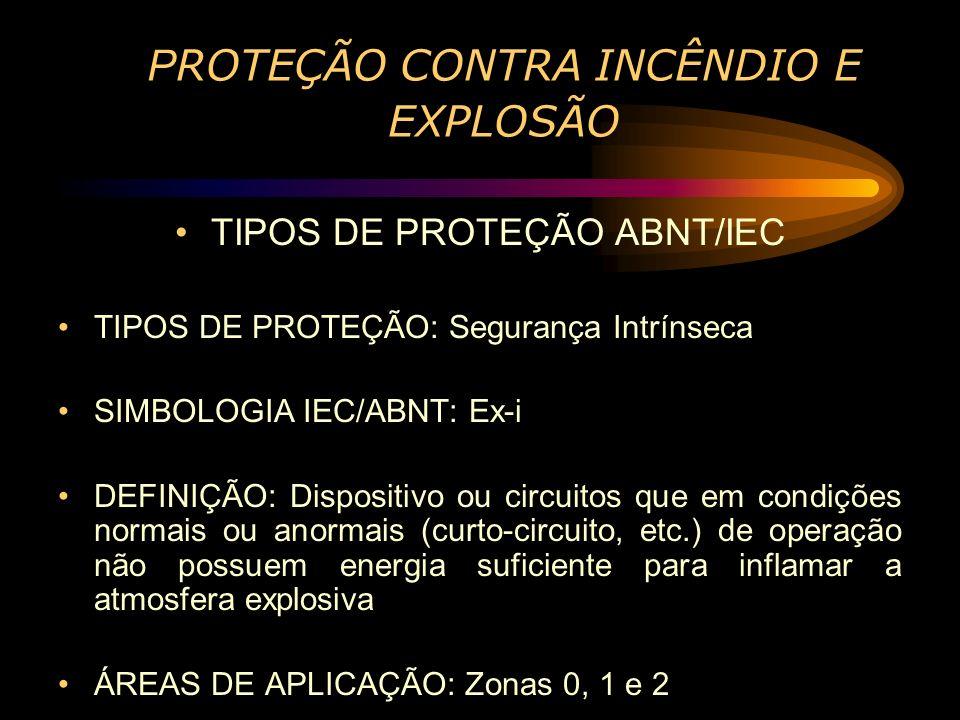 P ROTEÇÃO CONTRA INCÊNDIO E EXPLOSÃO TIPOS DE PROTEÇÃO ABNT/IEC TIPOS DE PROTEÇÃO: Segurança Intrínseca SIMBOLOGIA IEC/ABNT: Ex-i DEFINIÇÃO: Dispositi