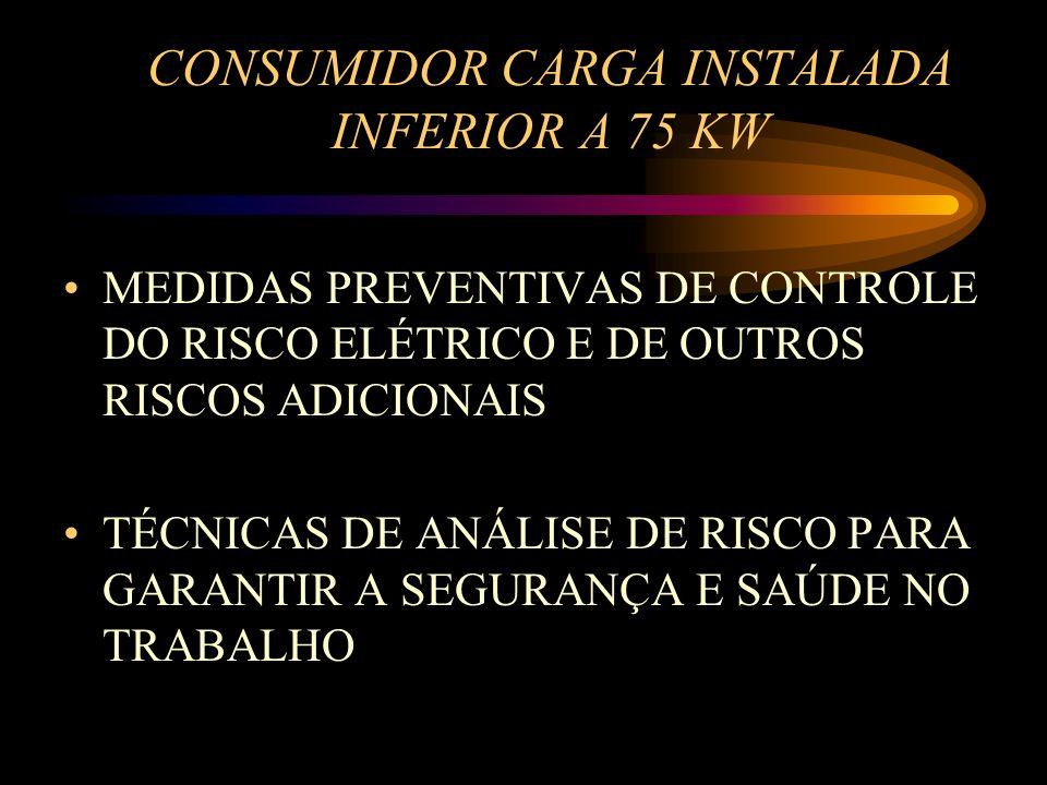 CONSUMIDOR CARGA INSTALADA INFERIOR A 75 KW MEDIDAS PREVENTIVAS DE CONTROLE DO RISCO ELÉTRICO E DE OUTROS RISCOS ADICIONAIS TÉCNICAS DE ANÁLISE DE RIS