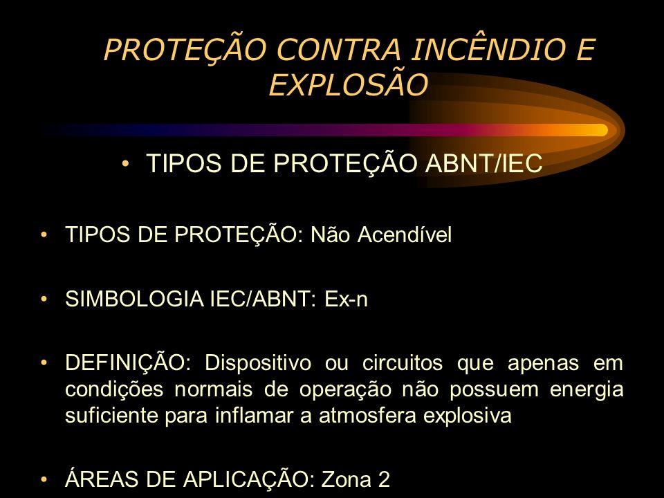 PROTEÇÃO CONTRA INCÊNDIO E EXPLOSÃO TIPOS DE PROTEÇÃO ABNT/IEC TIPOS DE PROTEÇÃO: Não Acendível SIMBOLOGIA IEC/ABNT: Ex-n DEFINIÇÃO: Dispositivo ou ci