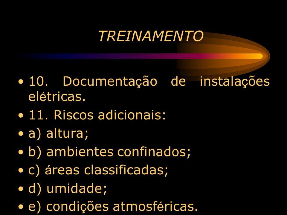 TREINAMENTO 10. Documenta ç ão de instala ç ões el é tricas. 11. Riscos adicionais: a) altura; b) ambientes confinados; c) á reas classificadas; d) um