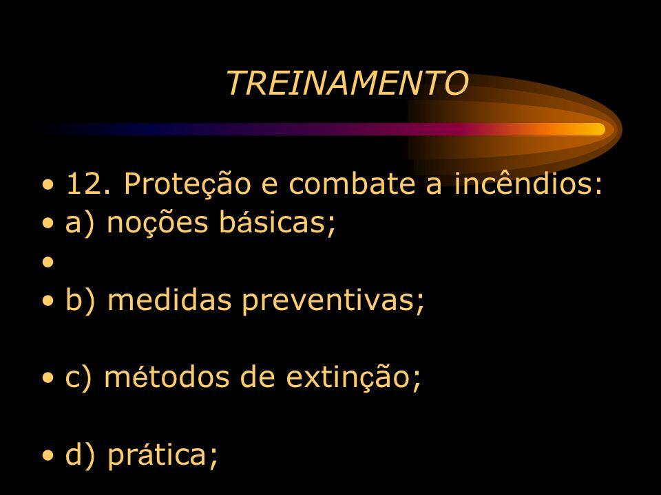 TREINAMENTO 12. Prote ç ão e combate a incêndios: a) no ç ões b á sicas; b) medidas preventivas; c) m é todos de extin ç ão; d) pr á tica;