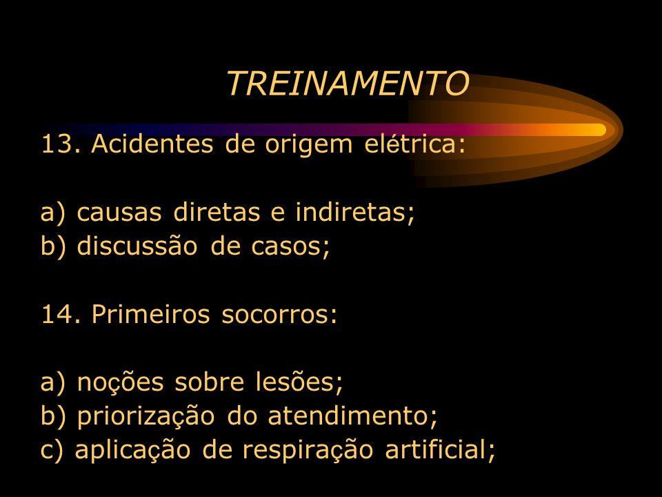 TREINAMENTO 13. Acidentes de origem el é trica: a) causas diretas e indiretas; b) discussão de casos; 14. Primeiros socorros: a) no ç ões sobre lesões