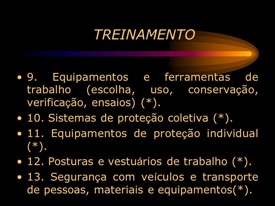TREINAMENTO 9. Equipamentos e ferramentas de trabalho (escolha, uso, conserva ç ão, verifica ç ão, ensaios) (*). 10. Sistemas de prote ç ão coletiva (