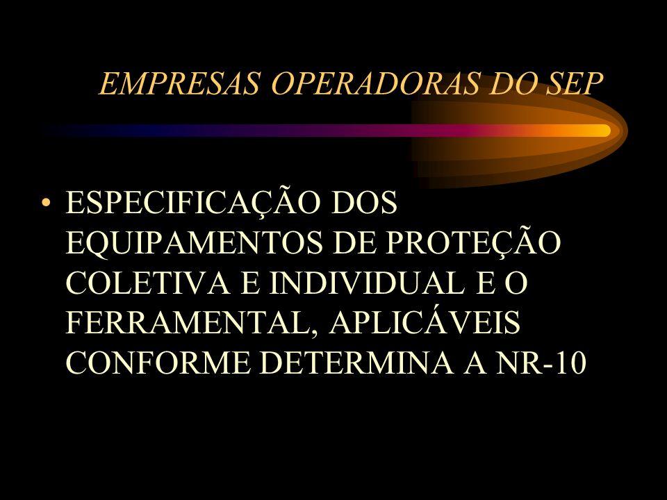 EMPRESAS OPERADORAS DO SEP ESPECIFICAÇÃO DOS EQUIPAMENTOS DE PROTEÇÃO COLETIVA E INDIVIDUAL E O FERRAMENTAL, APLICÁVEIS CONFORME DETERMINA A NR-10