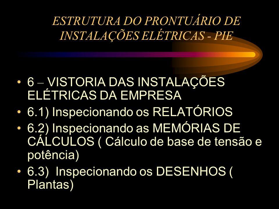 ESTRUTURA DO PRONTUÁRIO DE INSTALAÇÕES ELÉTRICAS - PIE 6 – VISTORIA DAS INSTALAÇÕES ELÉTRICAS DA EMPRESA 6.1) Inspecionando os RELATÓRIOS 6.2) Inspeci