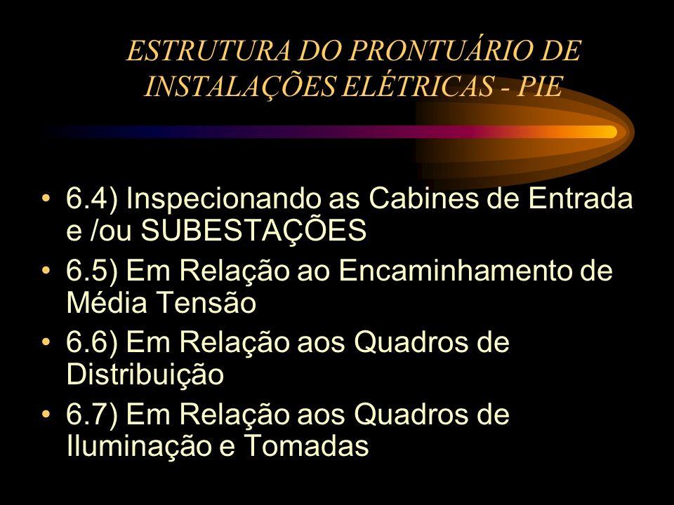 ESTRUTURA DO PRONTUÁRIO DE INSTALAÇÕES ELÉTRICAS - PIE 6.4) Inspecionando as Cabines de Entrada e /ou SUBESTAÇÕES 6.5) Em Relação ao Encaminhamento de