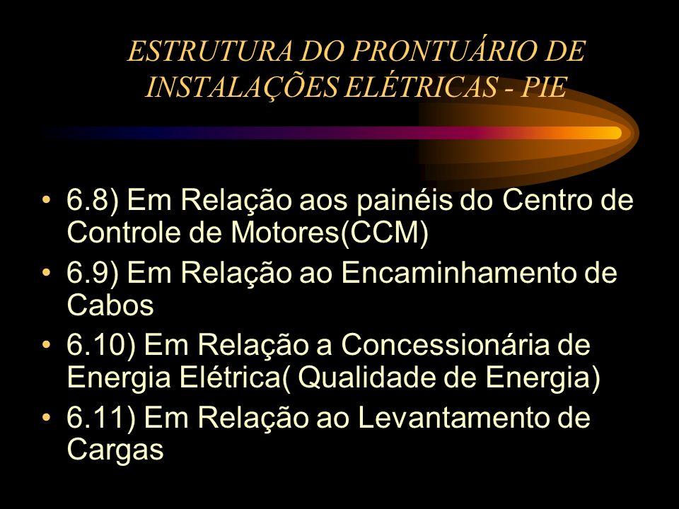 ESTRUTURA DO PRONTUÁRIO DE INSTALAÇÕES ELÉTRICAS - PIE 6.8) Em Relação aos painéis do Centro de Controle de Motores(CCM) 6.9) Em Relação ao Encaminham