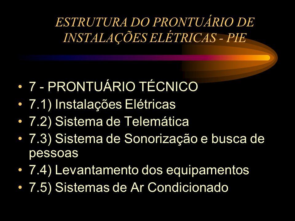 ESTRUTURA DO PRONTUÁRIO DE INSTALAÇÕES ELÉTRICAS - PIE 7 - PRONTUÁRIO TÉCNICO 7.1) Instalações Elétricas 7.2) Sistema de Telemática 7.3) Sistema de So