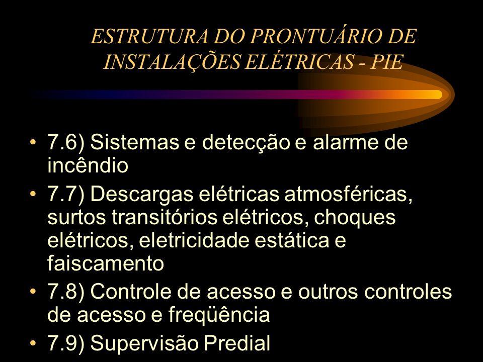 ESTRUTURA DO PRONTUÁRIO DE INSTALAÇÕES ELÉTRICAS - PIE 7.6) Sistemas e detecção e alarme de incêndio 7.7) Descargas elétricas atmosféricas, surtos tra
