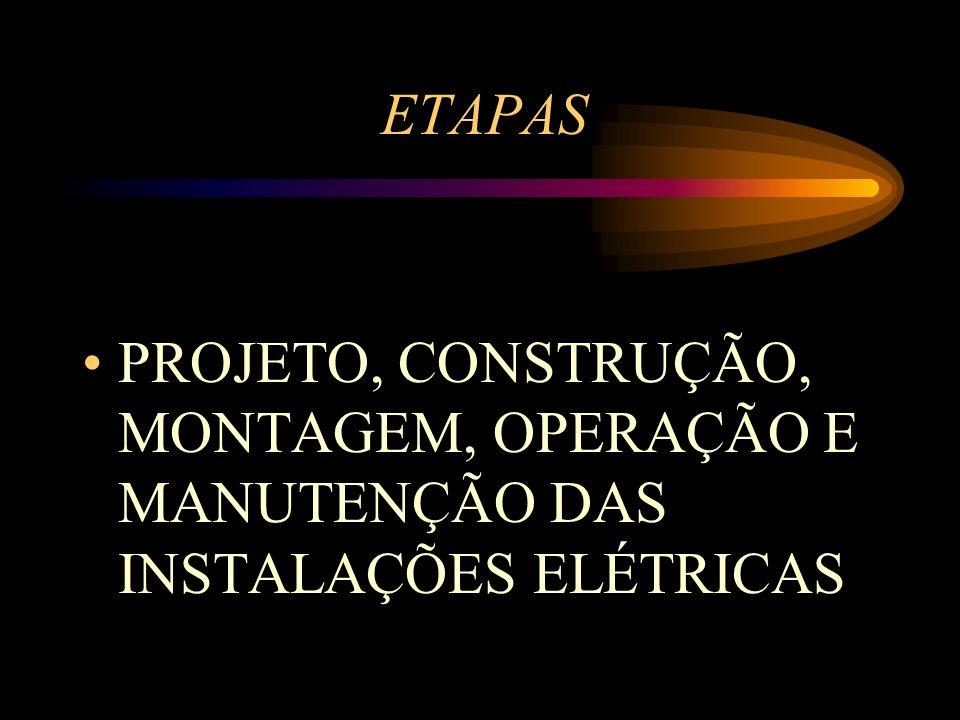 ETAPAS PROJETO, CONSTRUÇÃO, MONTAGEM, OPERAÇÃO E MANUTENÇÃO DAS INSTALAÇÕES ELÉTRICAS