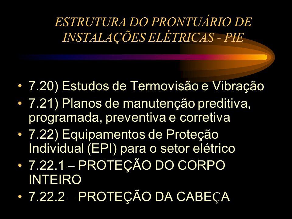 ESTRUTURA DO PRONTUÁRIO DE INSTALAÇÕES ELÉTRICAS - PIE 7.20) Estudos de Termovisão e Vibração 7.21) Planos de manutenção preditiva, programada, preven