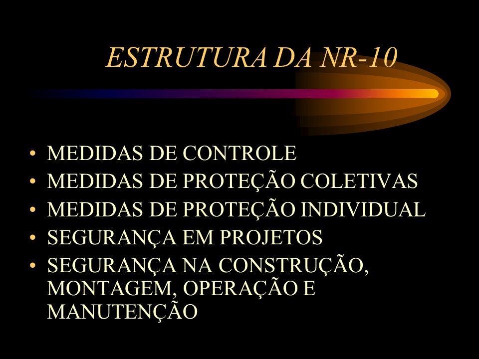 ESTRUTURA DA NR-10 MEDIDAS DE CONTROLE MEDIDAS DE PROTEÇÃO COLETIVAS MEDIDAS DE PROTEÇÃO INDIVIDUAL SEGURANÇA EM PROJETOS SEGURANÇA NA CONSTRUÇÃO, MON