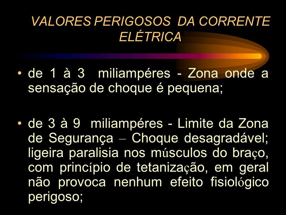 VALORES PERIGOSOS DA CORRENTE ELÉTRICA de 1 à 3 miliampéres - Zona onde a sensação de choque é pequena; de 3 à 9 miliampéres - Limite da Zona de Segur