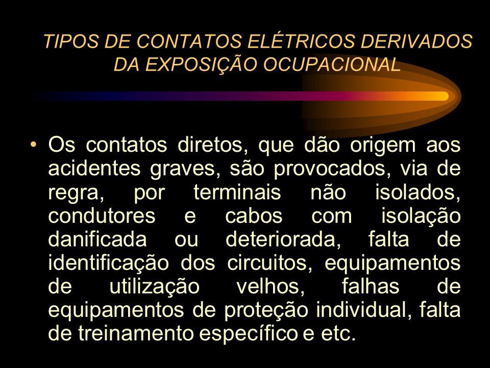 TIPOS DE CONTATOS ELÉTRICOS DERIVADOS DA EXPOSIÇÃO OCUPACIONAL Os contatos diretos, que dão origem aos acidentes graves, são provocados, via de regra,