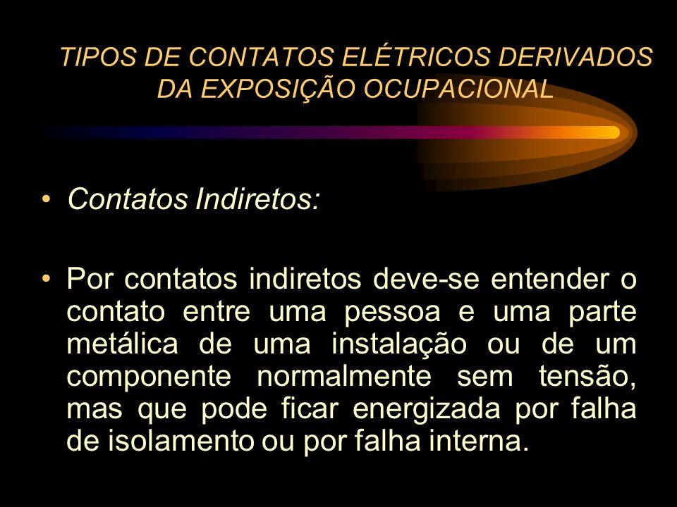 TIPOS DE CONTATOS ELÉTRICOS DERIVADOS DA EXPOSIÇÃO OCUPACIONAL Contatos Indiretos: Por contatos indiretos deve-se entender o contato entre uma pessoa