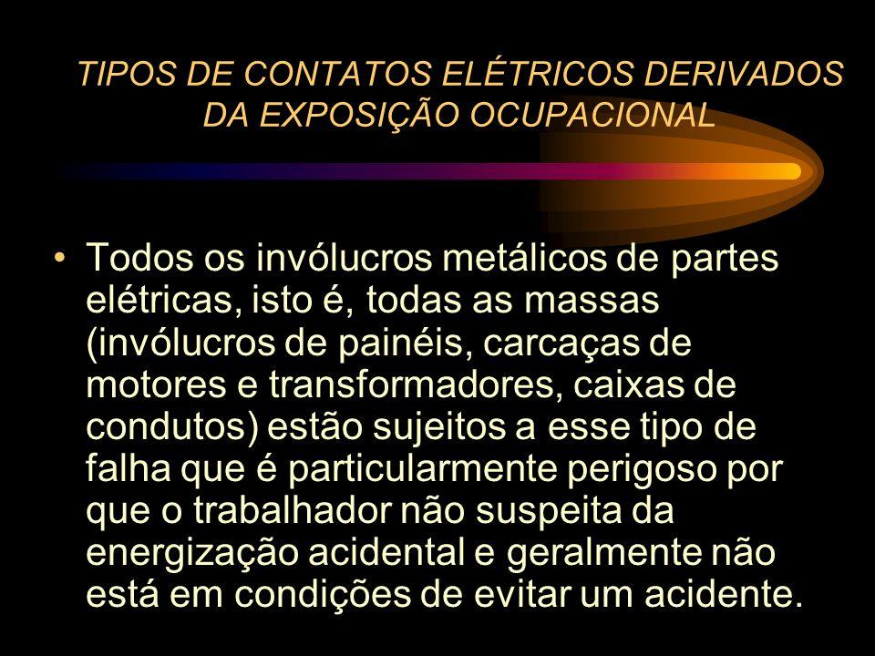 TIPOS DE CONTATOS ELÉTRICOS DERIVADOS DA EXPOSIÇÃO OCUPACIONAL Todos os invólucros metálicos de partes elétricas, isto é, todas as massas (invólucros