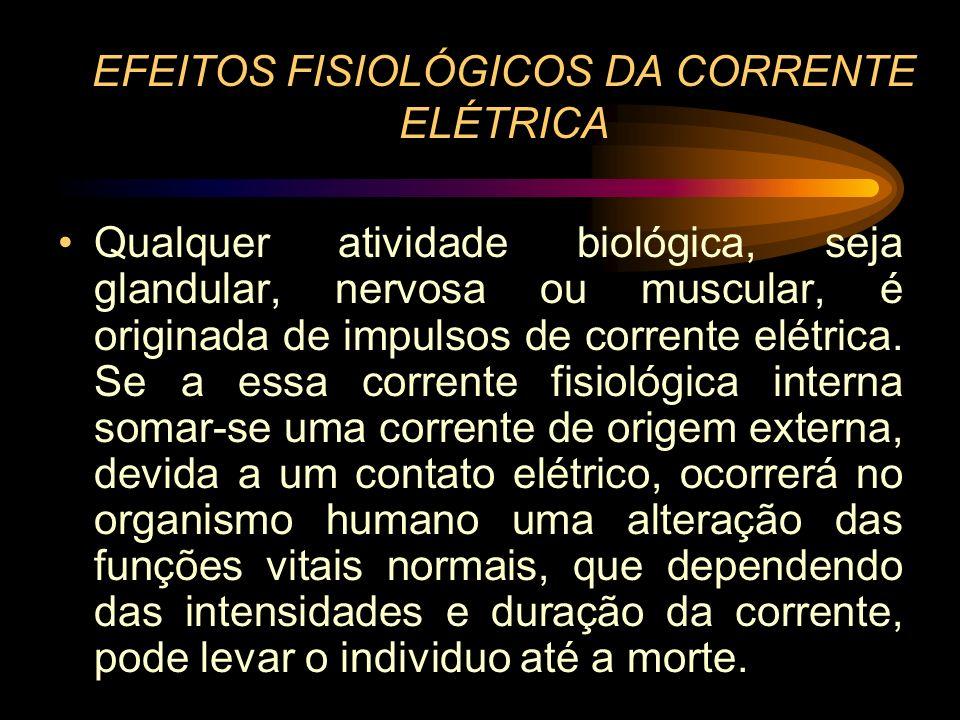 EFEITOS FISIOLÓGICOS DA CORRENTE ELÉTRICA Qualquer atividade biológica, seja glandular, nervosa ou muscular, é originada de impulsos de corrente elétr