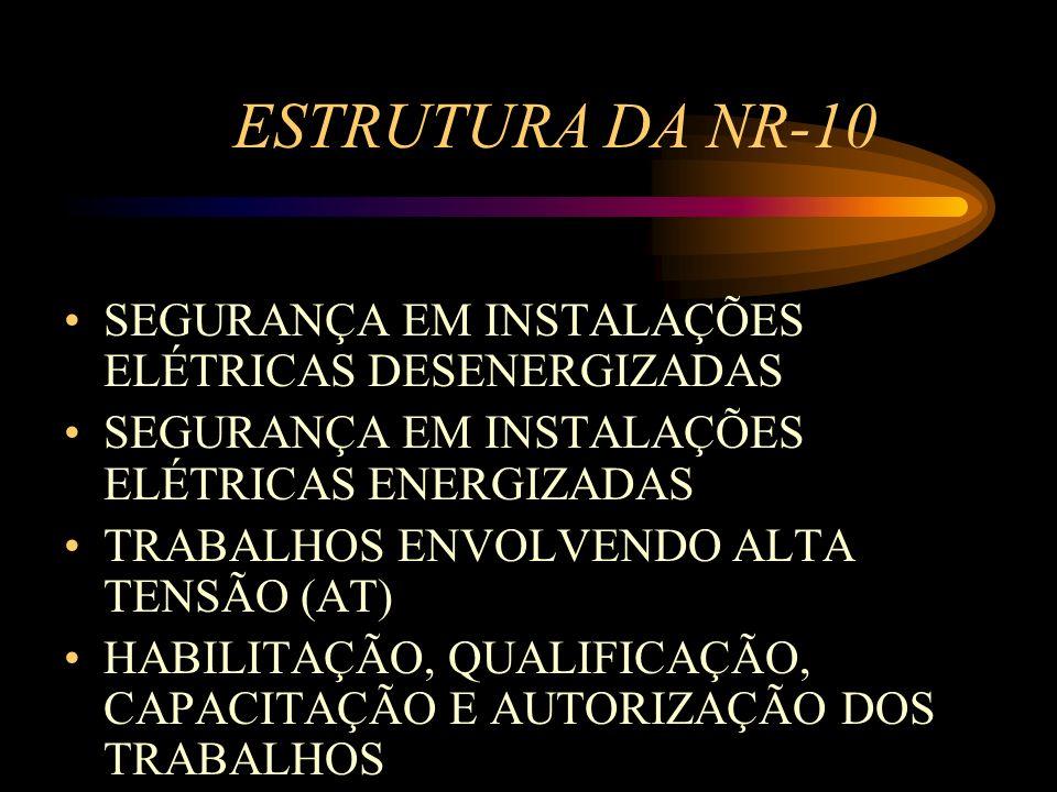 ESTRUTURA DA NR-10 SEGURANÇA EM INSTALAÇÕES ELÉTRICAS DESENERGIZADAS SEGURANÇA EM INSTALAÇÕES ELÉTRICAS ENERGIZADAS TRABALHOS ENVOLVENDO ALTA TENSÃO (