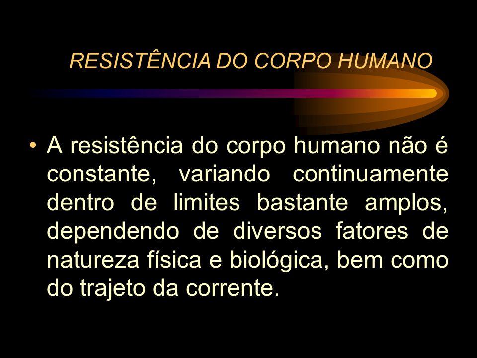 RESISTÊNCIA DO CORPO HUMANO A resistência do corpo humano não é constante, variando continuamente dentro de limites bastante amplos, dependendo de div