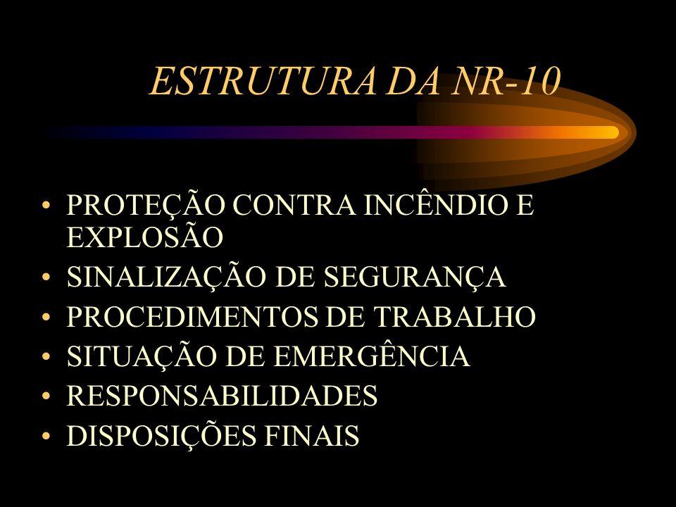 ESTRUTURA DA NR-10 PROTEÇÃO CONTRA INCÊNDIO E EXPLOSÃO SINALIZAÇÃO DE SEGURANÇA PROCEDIMENTOS DE TRABALHO SITUAÇÃO DE EMERGÊNCIA RESPONSABILIDADES DIS