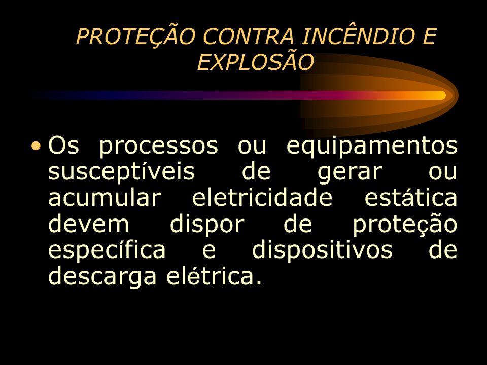 PROTEÇÃO CONTRA INCÊNDIO E EXPLOSÃO Os processos ou equipamentos suscept í veis de gerar ou acumular eletricidade est á tica devem dispor de prote ç ã