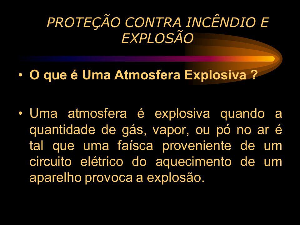 PROTEÇÃO CONTRA INCÊNDIO E EXPLOSÃO O que é Uma Atmosfera Explosiva ? Uma atmosfera é explosiva quando a quantidade de gás, vapor, ou pó no ar é tal q