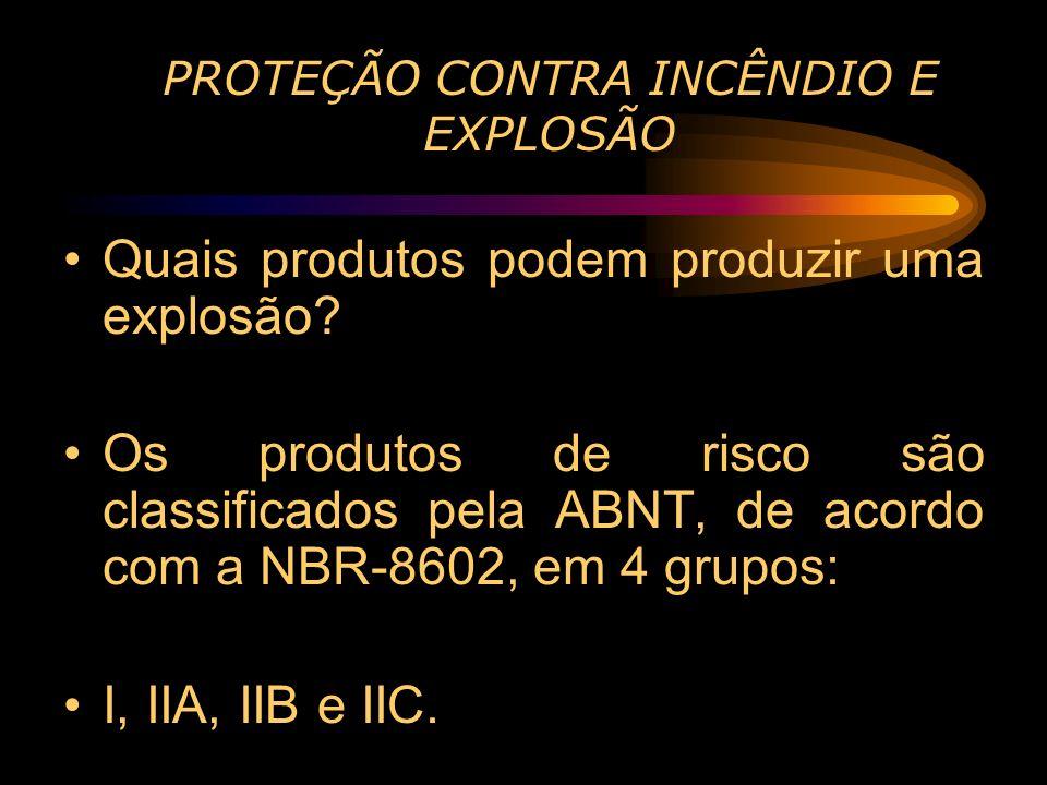 PROTEÇÃO CONTRA INCÊNDIO E EXPLOSÃO Quais produtos podem produzir uma explosão? Os produtos de risco são classificados pela ABNT, de acordo com a NBR-