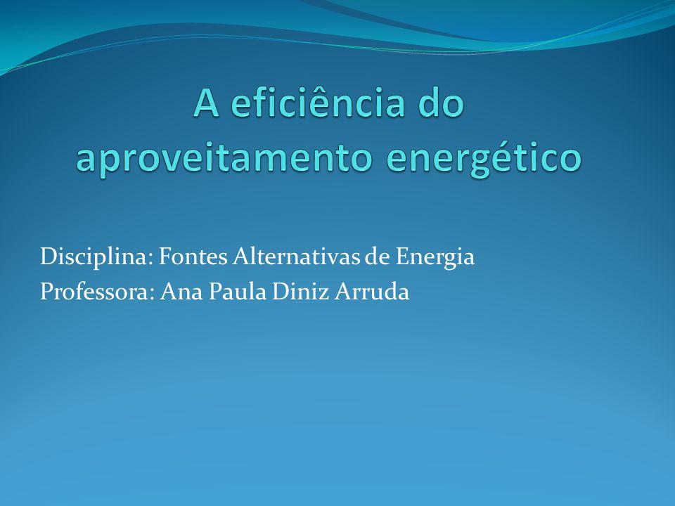 Disciplina: Fontes Alternativas de Energia Professora: Ana Paula Diniz Arruda