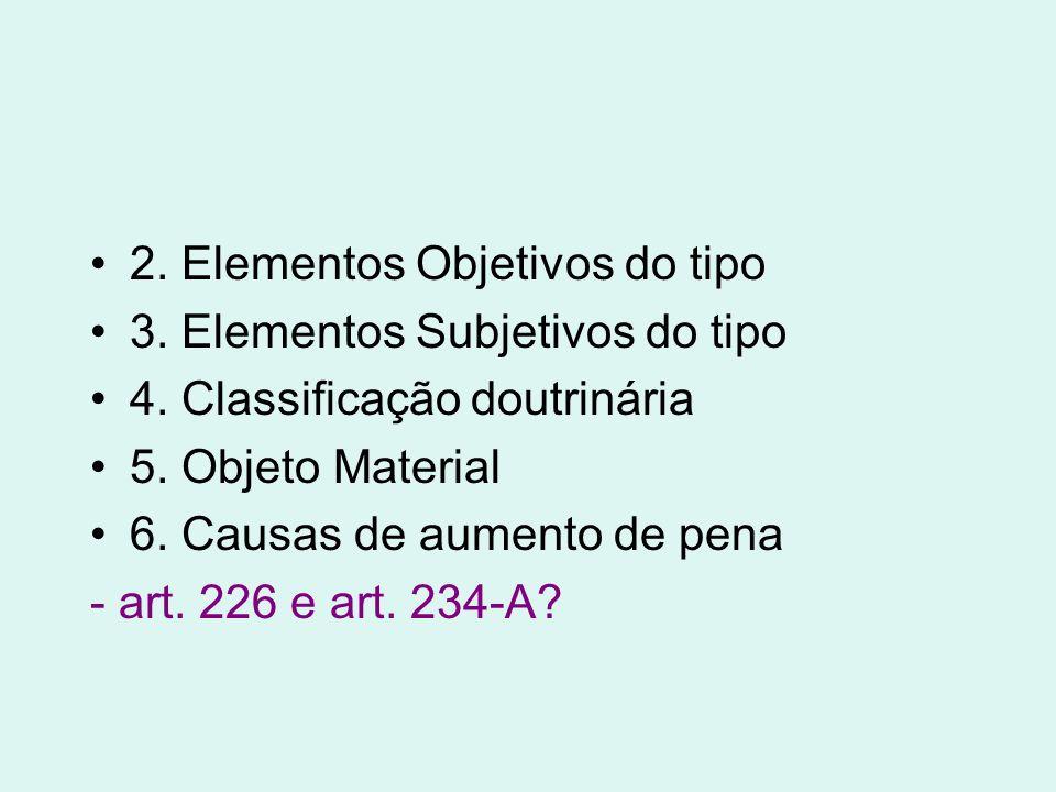 2. Elementos Objetivos do tipo 3. Elementos Subjetivos do tipo 4. Classificação doutrinária 5. Objeto Material 6. Causas de aumento de pena - art. 226