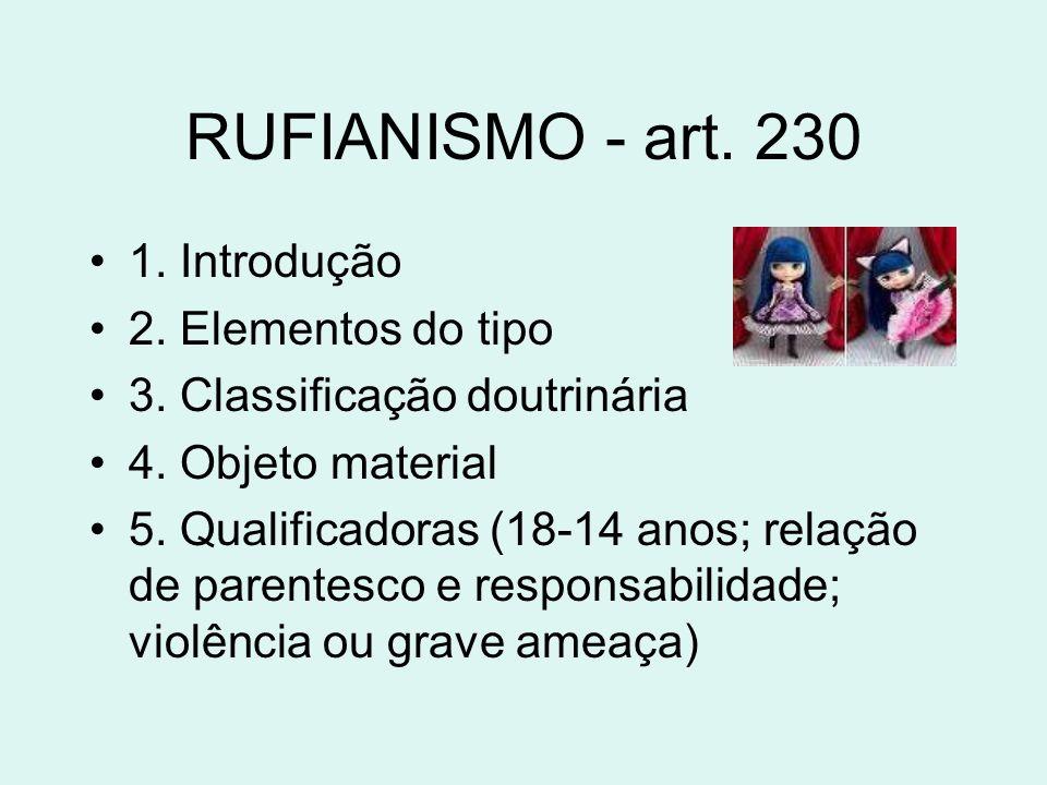 RUFIANISMO - art. 230 1. Introdução 2. Elementos do tipo 3. Classificação doutrinária 4. Objeto material 5. Qualificadoras (18-14 anos; relação de par
