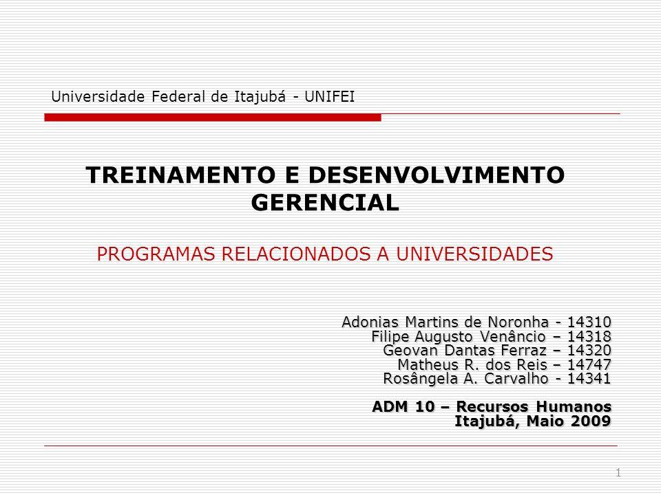 Sumário Introdução Treinamento e Desenvolvimento Programas ligados a universidades Vantagens e limitações Aplicações Dinâmica Conclusão Referências bibliográficas 2