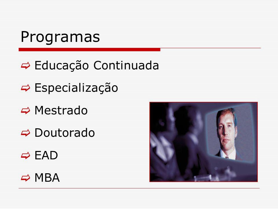 Programas Educação Continuada Especialização Mestrado Doutorado EAD MBA