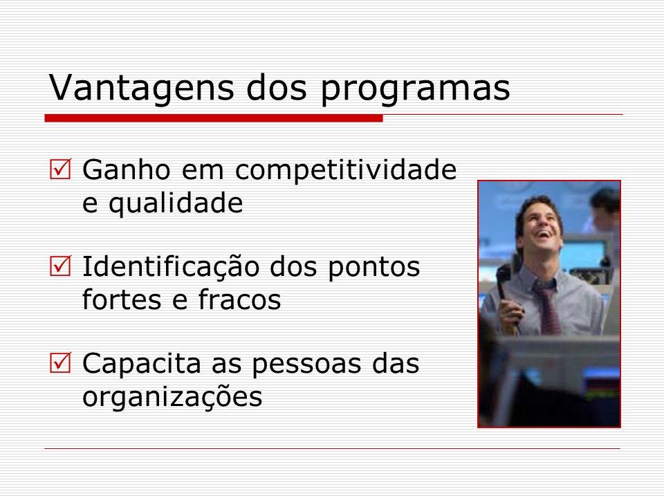 Vantagens dos programas Ganho em competitividade e qualidade Identificação dos pontos fortes e fracos Capacita as pessoas das organizações