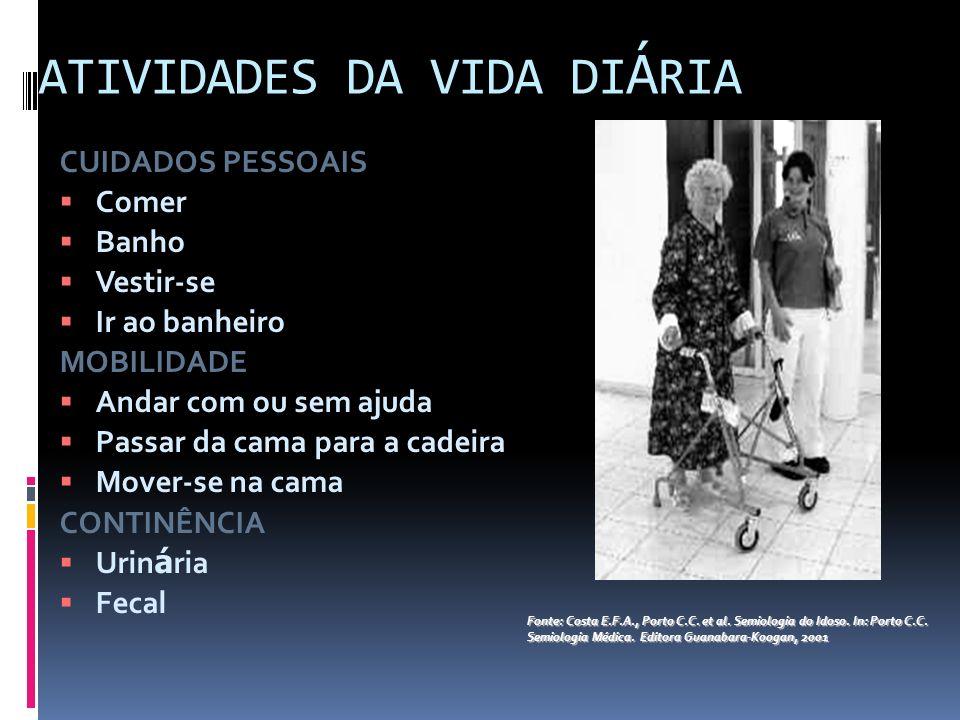 ATIVIDADES DA VIDA DI Á RIA CUIDADOS PESSOAIS Comer Banho Vestir-se Ir ao banheiro MOBILIDADE Andar com ou sem ajuda Passar da cama para a cadeira Mov