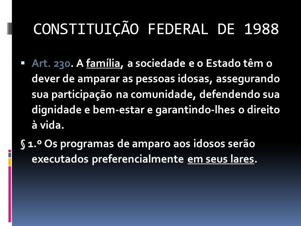 CONSTITUIÇÃO FEDERAL DE 1988 Art. 230. A família, a sociedade e o Estado têm o dever de amparar as pessoas idosas, assegurando sua participação na com