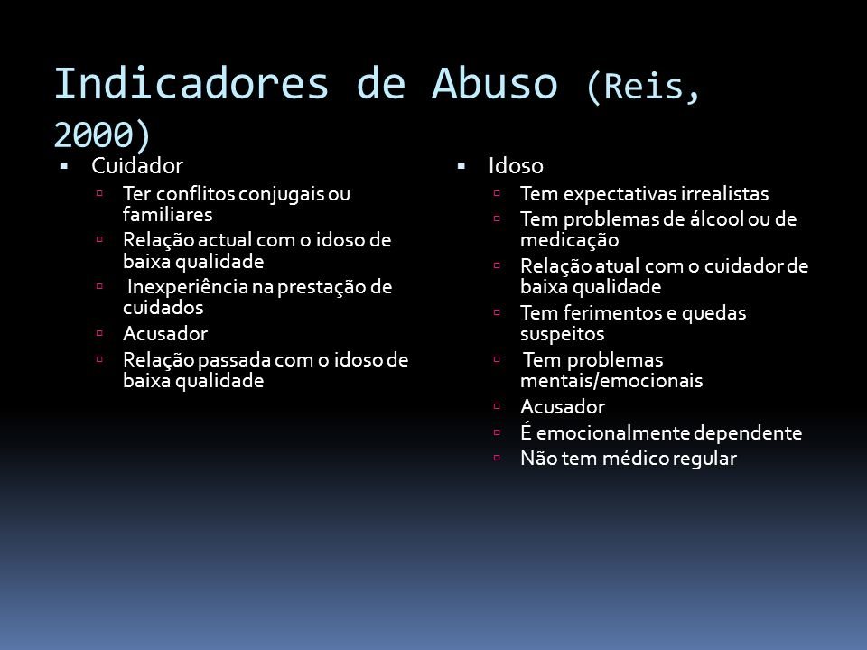 Indicadores de Abuso (Reis, 2000) Cuidador Ter conflitos conjugais ou familiares Relação actual com o idoso de baixa qualidade Inexperiência na presta