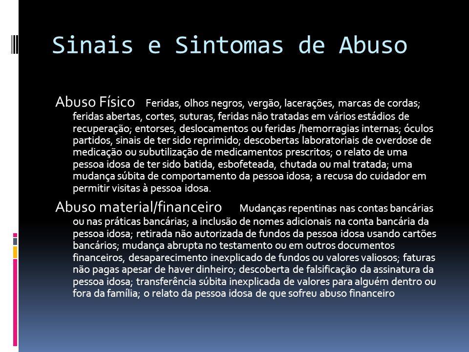 Sinais e Sintomas de Abuso Abuso Físico Feridas, olhos negros, vergão, lacerações, marcas de cordas; feridas abertas, cortes, suturas, feridas não tra