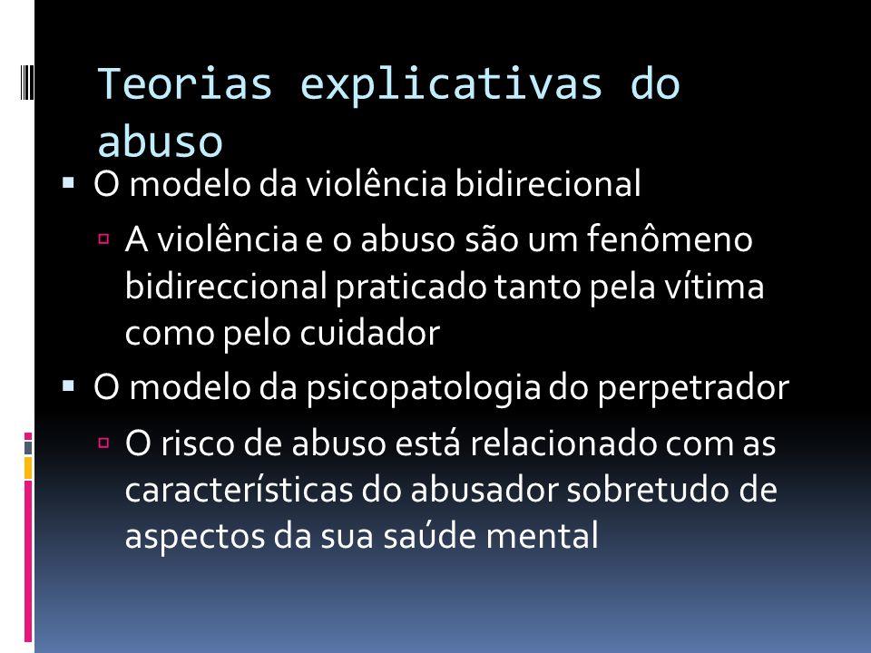 Teorias explicativas do abuso O modelo da violência bidirecional A violência e o abuso são um fenômeno bidireccional praticado tanto pela vítima como