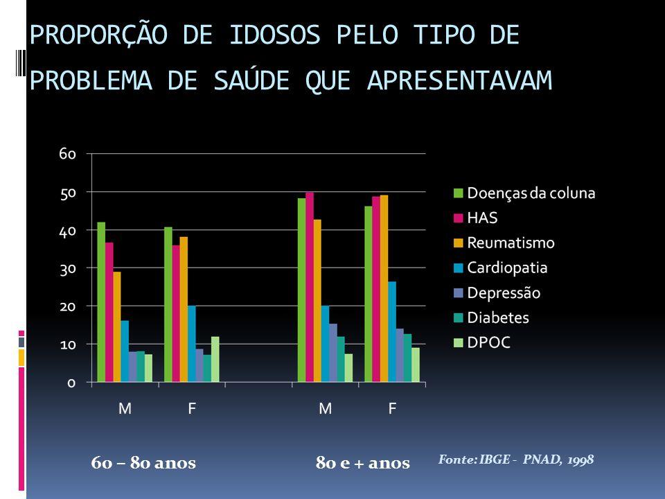 PROPORÇÃO DE IDOSOS PELO TIPO DE PROBLEMA DE SAÚDE QUE APRESENTAVAM 60 – 80 anos80 e + anos Fonte: IBGE - PNAD, 1998