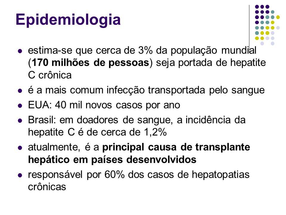 Epidemiologia estima-se que cerca de 3% da população mundial (170 milhões de pessoas) seja portada de hepatite C crônica é a mais comum infecção trans