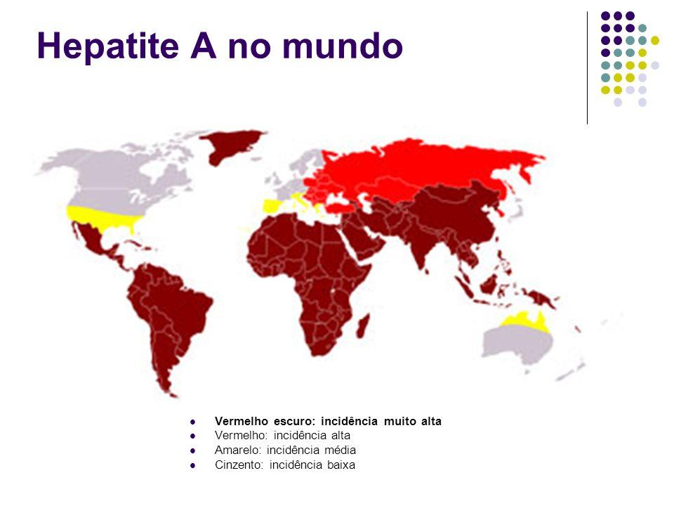 Hepatite A no mundo Vermelho escuro: incidência muito alta Vermelho: incidência alta Amarelo: incidência média Cinzento: incidência baixa