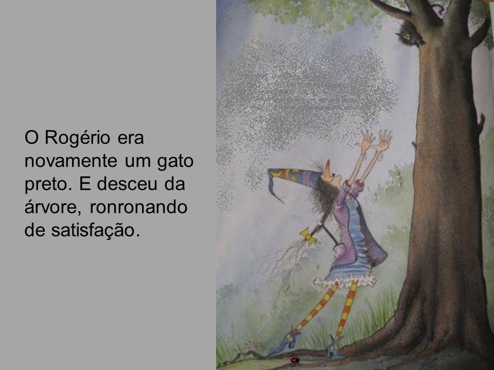 O Rogério era novamente um gato preto. E desceu da árvore, ronronando de satisfação.